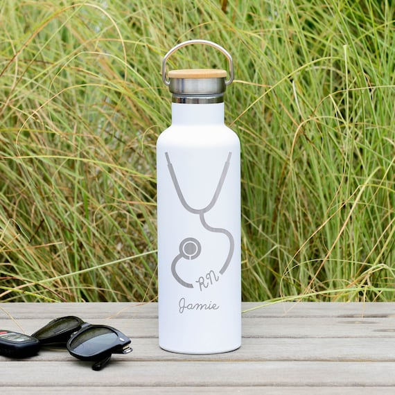 Custom Engraved Stethoscope Design with Personalized Name on Insulated Stainless Steel Water Bottle 25oz | Registered Nurse Gifts | RN Gifts