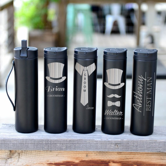 Wedding Gifts for Groomsmen Personalized Stainless Steel Water Bottle 20oz | Elemental Iconic Insulated Bottes | Wedding Planning