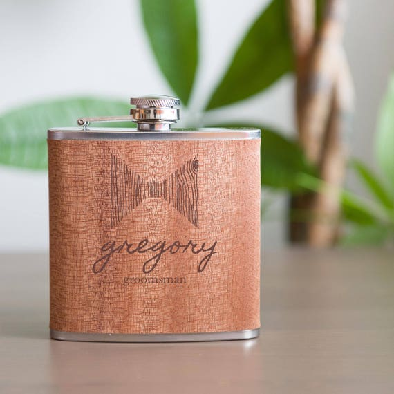 Personalized flask | groomsmen flask | best man flask | wood bow tie flask | name flask | bachelor gift | wedding party | #FB0069