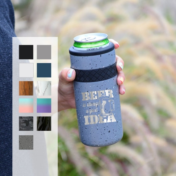 Personalized Can Cozie   Beer Gift Engraved 12oz Elemental Slim Can Cooler   Insulated Beverage Holder, Seltzer Can Cooler, Birthday Gift
