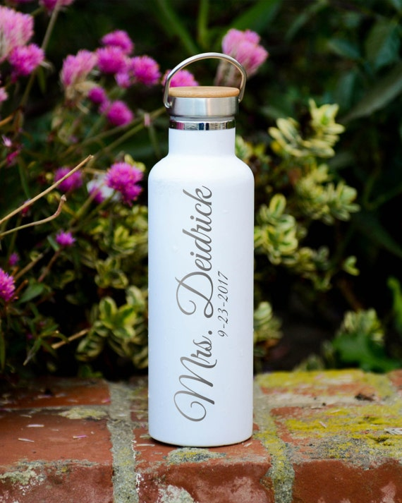 Personalized Stainless Steel Water Bottle with Wedding Couple Design 25oz   Personalized Gifts   Wedding Party Gifts   Couple Gifts Tumblers