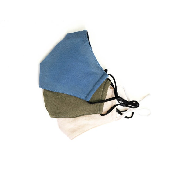 Face Mask with Nose Wire, Premium Linen, Built-in Filter Pocket, 3 Layer Face Masks, Unisex Masks, For Men and Women and Teens, Linen Mask