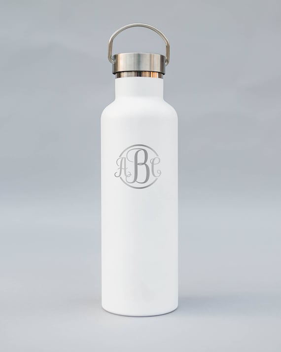 Classic Style Personalized Engraved Monogram Bottle | Double-Insulated Water Bottle | Elemental Bottles | 25 oz. with Steel or Bamboo Cap