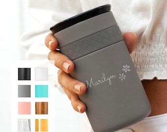 Personalized Insulated Stainless Steel Coffee Tumbler 12oz with CERAMIC Lid - 6hrs hot | 18 hrs cold | Best Gift for Coffee Lovers