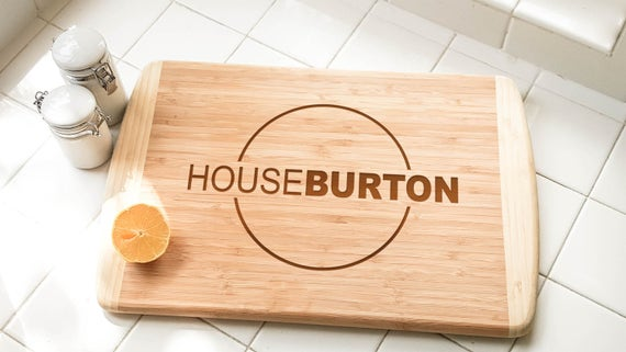"""Personalized Large Two-Tone Bamboo Cutting Board 18""""x12""""   Family Gift   Wedding Anniversary Gift   Housewarming Gift   Cook Gift   Newlywed"""