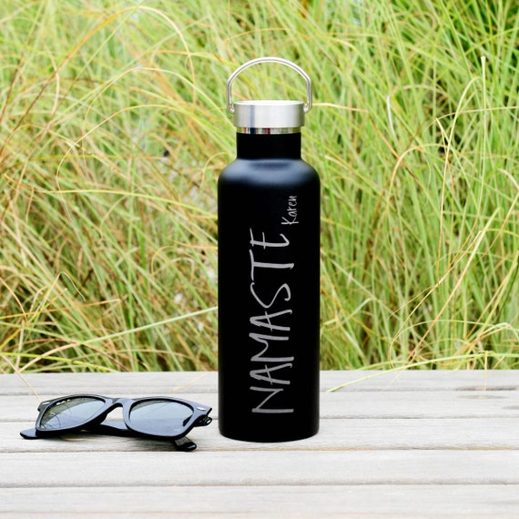 Personalized Stainless Steel Water Bottle Name with Namaste Design 25oz | Personalized Gifts | Inspirational Gift | Yoga Mom | Fit Mom