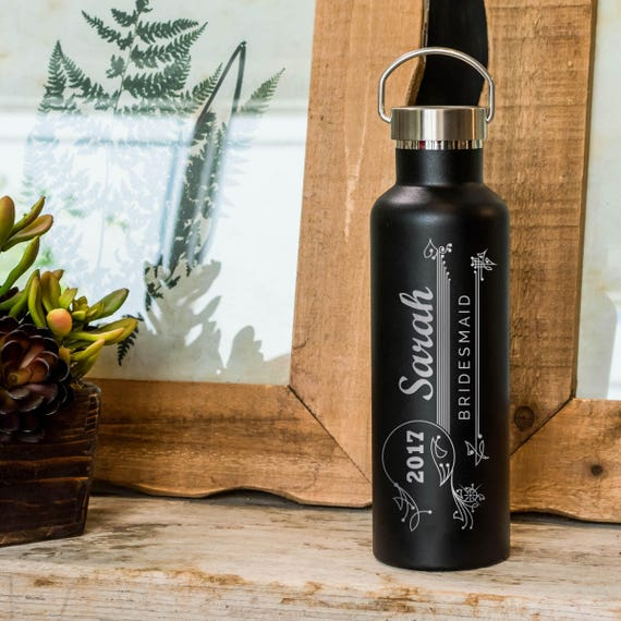 Vintage Wedding Party Gifts - Custom Engraved Bottle  | Groomsmen and Bridesmaids Gifts | 6 Color Choices Elemental 25oz Insulated Bottles