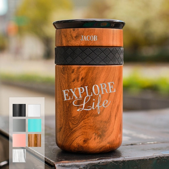 Explore Life Personalized Stainless Steel Coffee Tumbler Personalized 12oz with CERAMIC Lid - Best Gift for Adventurers and Coffee lovers