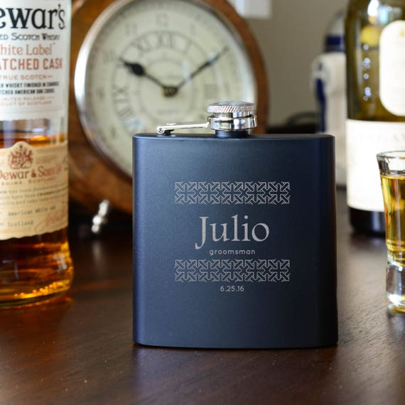 Personalized flask | groomsman black flask | best man flask | name on flask | wedding party gift | best man gift | groom gift | #FSK020