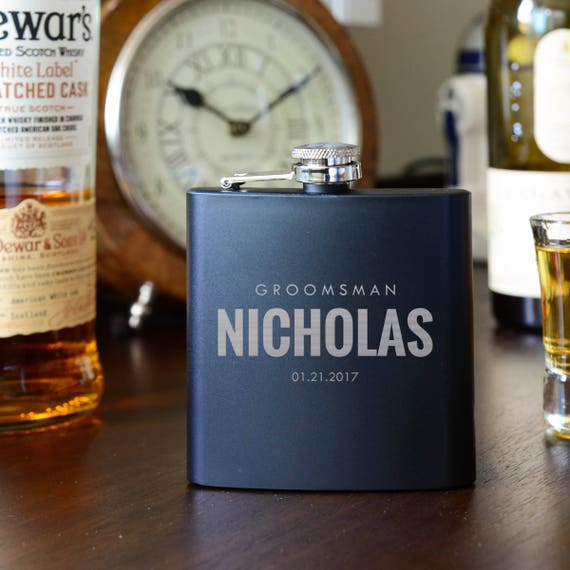 Personalized flask | groomsmen flask | best man flask | bold flask | name on flask | wedding party gift | bridesmaid flask | #FSK014