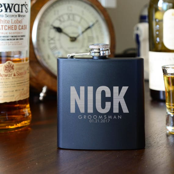 Personalized flask | groomsmen flask | best man flask | bold flask | name on flask | wedding party gift | bridesmaid flask | #FSK027