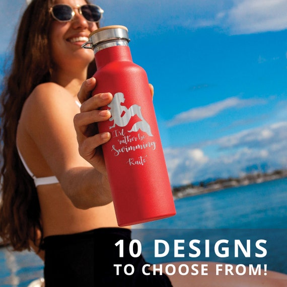 Beautiful Personalized Stainless Steel Water Bottle - Custom Laser Engraved 25oz Double Walled Vacuum Insulated Bottle