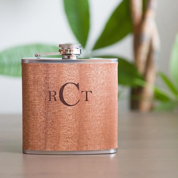 Monogram Wooden Flask | Personalized Initials Groomsman Flask |  Bridesmaid Wood Flasks | Wedding Party Gift | Best Man Flask | FW0051