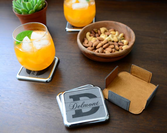 Personalized Initial Leather Coaster, Set of 4 Include Holder | Best For Housewarming, Wedding and Family Gifts