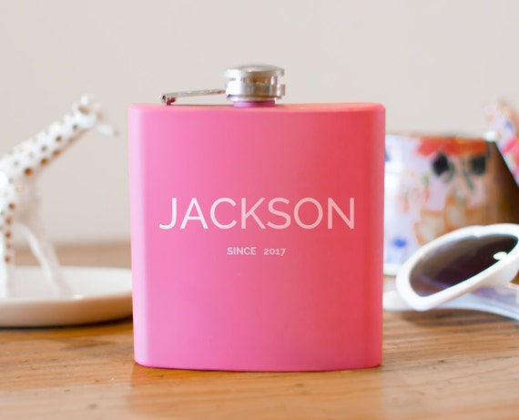 Personalized flask | birthday flask gift | pink flask | name on flask | wedding party gift | bridesmaid gift | anniversary flask | #FP0019