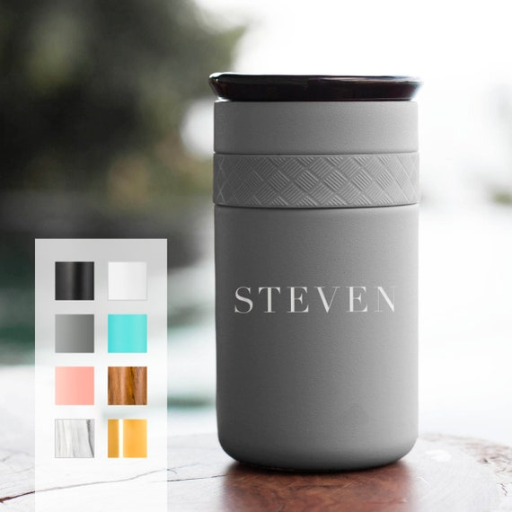 Personalized 12oz Tumbler, Insulated Stainless Steel Coffee Tumbler w/CERAMIC Lid - 6hrs hot |18 hrs cold| Best Gift for Coffee, Tea Lovers