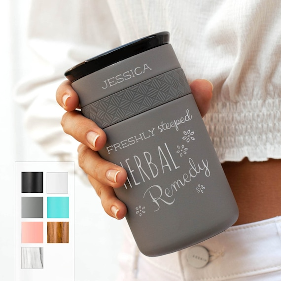 Personalize Tea Tumbler, Best Gift Insulated Stainless Steel Coffee Tumbler 12oz with CERAMIC Lid - 6hrs hot | 18 hrs cold