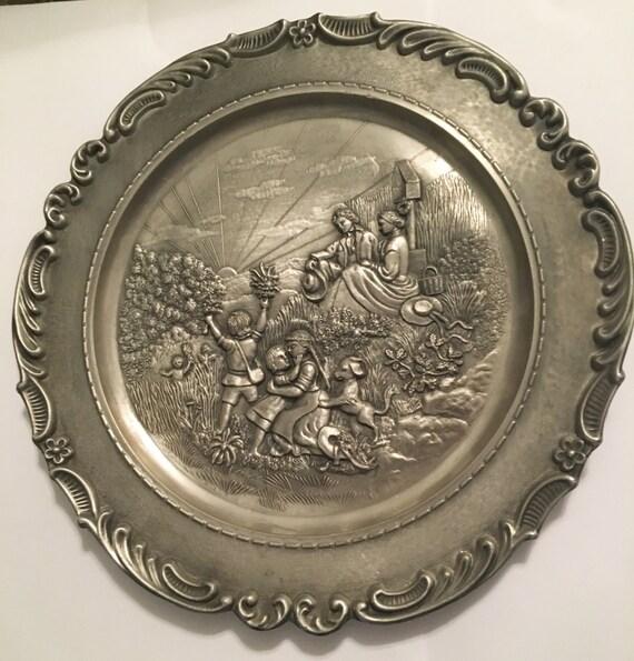 Vintage Frieling-Zinn Pewter Plate German Pewter Wall   Etsy