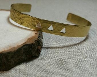 Hammered Brass Three Triangle Cuff Bracelet / Stackable Bracelet / Boho / Minimalist - BHC03