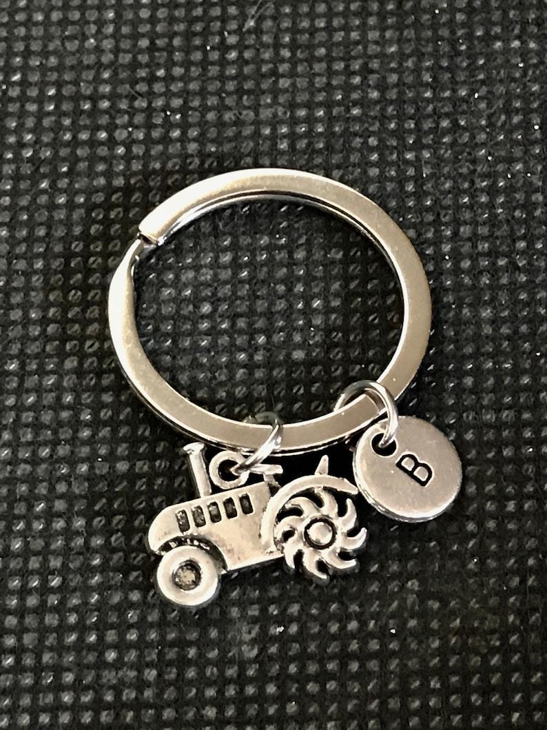 Tractor Keychain Personalized Farm Keychain Tractor Keyring Farmer Keychain Tractor Gift Tractor Charm Dad Keychain
