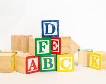 Educational Blocks Alphabet & Language Wood Abc Letter Number Alphabet Blocks 40