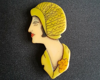 1920s Celluloid Art Deco Flapper Pin Brooch