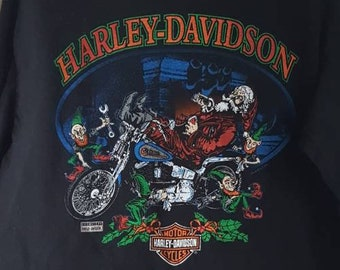 80fc430d Vintage 90s Harley Tee, Christmas Santa Claus & Elves Long Sleeve Harley  Davidson T-Shirt, Cycle World Toronto Ontario, Men's Medium M