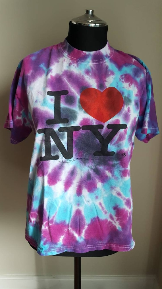 Vintage 90s I Love NY Tee, 1996 Grunge Tie Dye Off