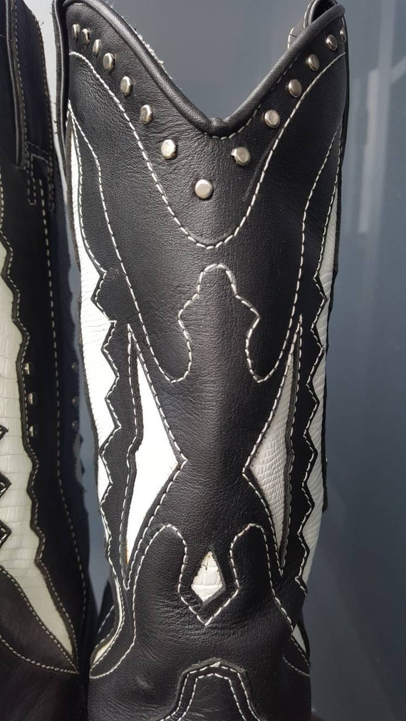 Vintage Cowboy Boots, Circle S Black and White He… - image 4