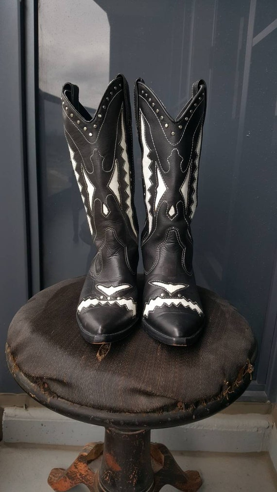 Vintage Cowboy Boots, Circle S Black and White He… - image 3