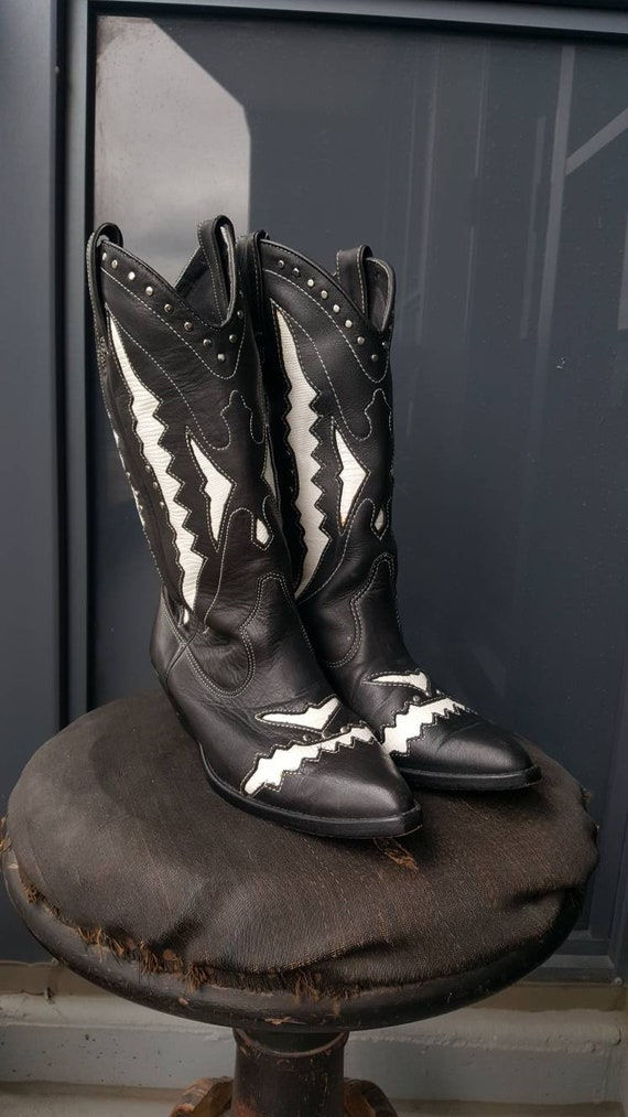 Vintage Cowboy Boots, Circle S Black and White He… - image 5