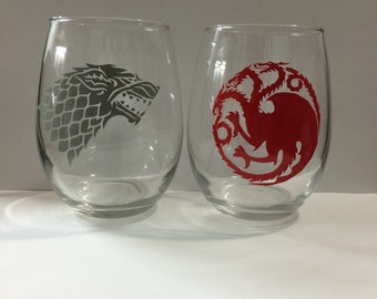 15oz Stemless Wine Glass | Game of Thrones