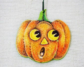 Scared Halloween Pumpkin Ornament - Hand Drawn - One of a Kind