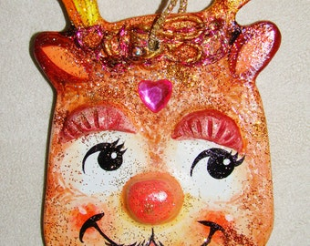 Reindeer Christmas Ornament - Hand Crafted and Painted - One of a Kind