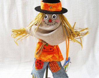 Decorative Scarecrow Figure - Hand Crafted for Halloween, Thanksgiving, or Fall Display