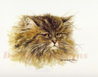 """Cat Watercolor Painting """"Tuffy"""" Limited Edition Prints"""