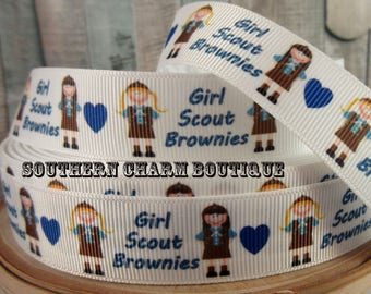 "3 yard 7/8"" girl scouts brownie grosgrain ribbon"