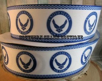 """3 yards of 1 1/2"""" Air Force grosgrain ribbon"""