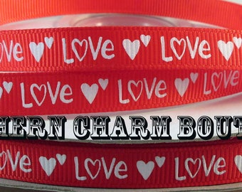 "3 yards of 3/8"" Valentines day Love grosgrain ribbon"