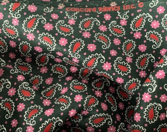 1970s Paisley Fabric, Pink, Red Dark Cotton Sateen By the Yard #3971