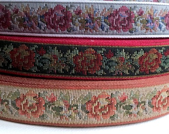 "Rose Floral Brocade Tapestry Trim Yard Woven Craft Ribbon 2 3//8/"" Wide"
