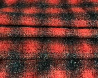 """Wool Fleece Fabric 62"""" wide Coat Weight Fabric Ombre Plaid Wool Blend Fabric Orange Charcoal Gray 1990s Vintage #2118"""