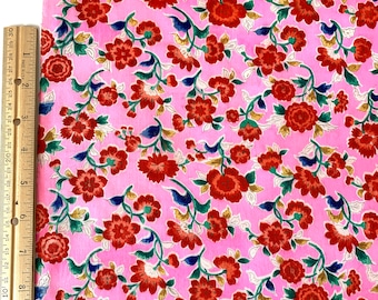 """1940s Hand Painted Japanese Silk Fabric by the Yard, Bright Pink Floral, 13 3/4"""" wide #3967"""
