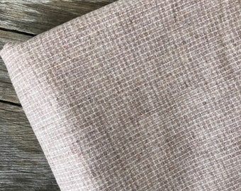 """1970s Vintage Wool Blend Plaid Fabric by the Yard x 56"""" wide, Heather Beige #3862"""