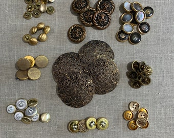Vintage Assorted Button Sets, Your Choice Gold Metal Brass Fall Buttons #2881