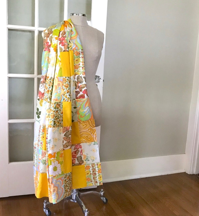 1970s Quilt Top Fabric 59 x 56 Yellow Orange Floral  #1747 Groovy Vintage Patchwork Fabric