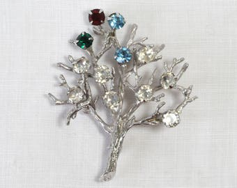 Vintage Sterling Tree Brooch, Family Tree, Sterling Silver, Ruby, Emerald, Aquamarine, Clear Rhinestones, Prong Set, KC