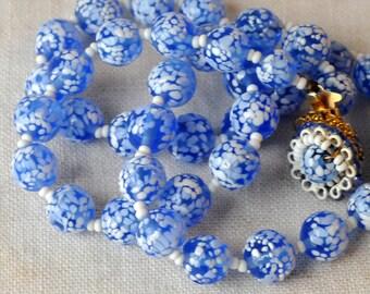 Vintage Italian Glass Necklace, Blue, White Speckled, Venetian Style, Handblown Glass Beads, KC106