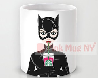 a00ffb96fcc69 Personalized mug cup designed PinkMugNY - I love Starbucks - Catwoman -  Batman