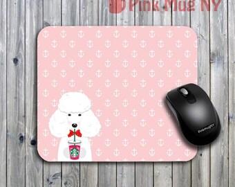 Personalized computer Mouse pad, gift idea, desk accessory - I love Starbucks - Poodle - White
